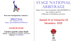 FICHE D'INSCRIPTION STAGE NATIONAL ARBITRAGE 2016