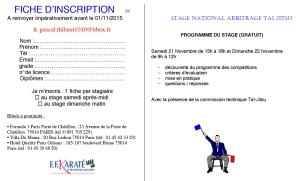 FICHE D'INSCRIPTION STAGE NATIONAL ARBITRAGE 2016