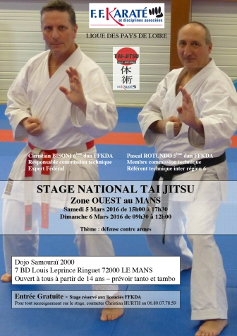 affiche stage national TAI JITSU zone ouest mars 2016