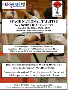 affiche stage national zone nord mai 2016